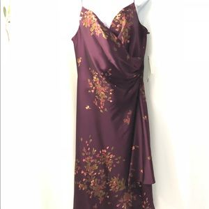 NWT- Jones New York Plum Floral Silk Dress